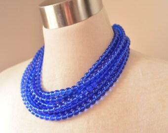 Michelle - Light Cobalt Blue Glass Bridesmaid Statement Necklace