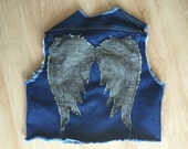 Denim Vest - Blue with Grey Angel Wings - Inspired by The Walking Dead's Daryl - Reused Recycled Repurposed