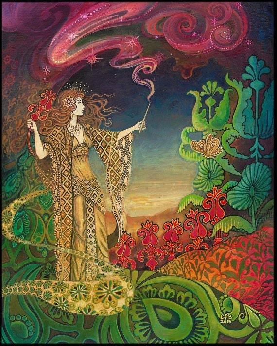 Queen Of Wands Psychedelic Gypsy Goddess Tarot Art 8x10 Print