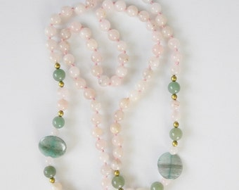 Genuine Rose Quartz Vintage Necklace Jane Green Disc Beads Knotted