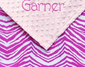 Monogrammed Baby Girl Blanket , Personalized Baby Blanket , Raspberry Pink and White Zebra Blanket , Children
