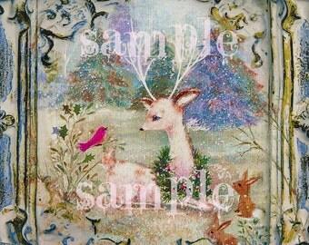 SALE Instant DIGITAL DOWNLOAD - Vintage Christmas Card - Little Deer and animals Retro Kitsch card - forest woodland