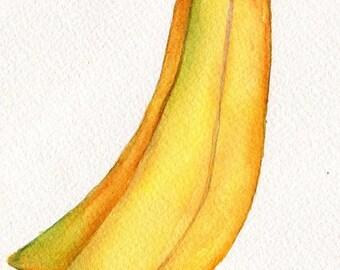 Bananas watercolors paintings original, 4 x 6, original Fruit ART, original watercolor painting of banana, Modern Minimalist culinary art