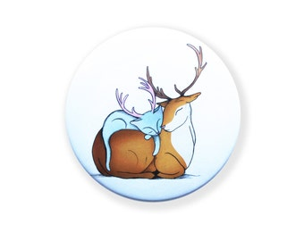Deer Cat pocket mirror - Antlers - round hand compact deer cats illustration - 3 inches / 76mm