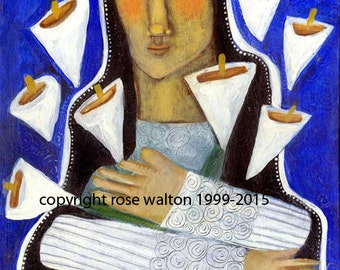 the Madonna with Lilies 8x9 archival giclee print by Rose Walton