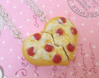 Best Friend Pizza Necklace Set: BFF Jewelry, Polymer Clay, Best Friend Necklace, Miniature Food Jewelry