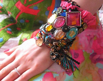 Night Lights, Gypsy Jangle Bracelet, Bedazzle, Bohemian, Beaded Bracelet, Bejewelled, Cuff Style