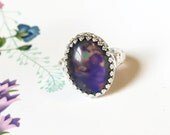 Mood Ring with Sterling Floral Band, Vintage or New Stone