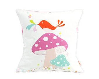 Limited Edition Birdie on a Mushroom 13 Inches Square Pillow