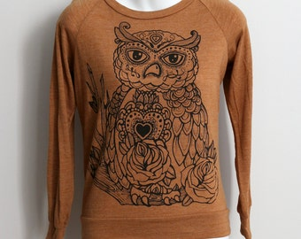 Size M/L - Heather Rust Brown Tri-Blend Sweatshirt with Owl Screen Print