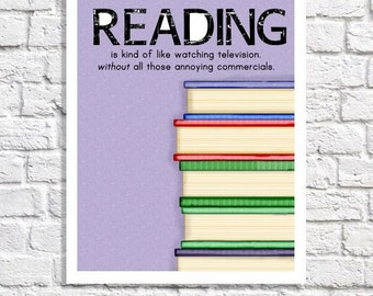 Home Library Decor Librarian Gift Kids Reading Nook Reading Poster Classroom Quote Stack of Books Illustration Literacy Center Wall Art