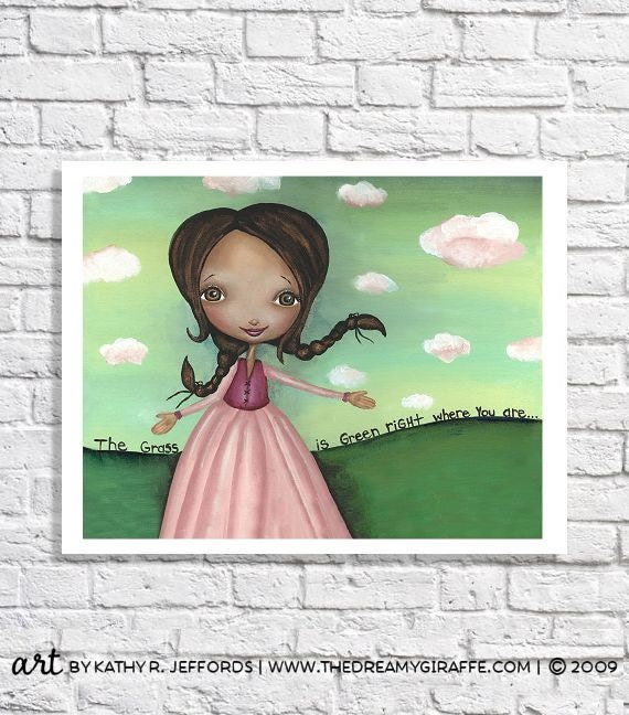 Girls Room Decor Inspirational Art Print Postive Quote Poster African American Pictures Cute Office Decor Pink And Green Nursery Optimistic