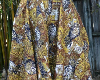 Fabulous Quilted Vintage Circle Skirt w/Pineapples by Sporteens 1950's 1960's Retro Tiki w/Belt