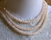 Vintage Inspired Pale Peach Triple-Strand Chinese Crystal Necklace and Earrings Set