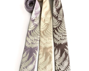 Custom color wedding neckties. 3 groomsmen ties, wedding discount. Matching vegan safe microfiber ties, same screenprinted design.