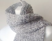 Chunky Hand Knit Classic Scarf in Grey Heather Soft Rib Knit Scarf Men Women Unisex CLARKE Ready to Ship - Autumn, Winter Fashion
