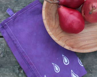 purple raindrops tea towel