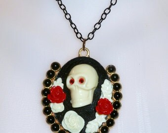 Black Red Rose Goth Skull Cameo Necklace