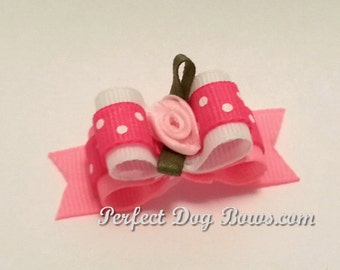Pink Dog Bow for Girls, Top Knot Dog Bow, Small Dog Bows