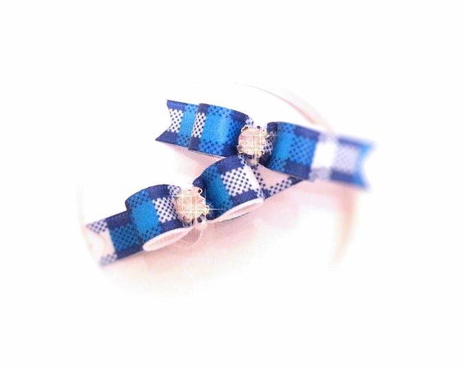 Boy Dog Bows, Blue Dog Bows, Plaid Dog Bows, Small Dog Bows, Puppy Dog Bows, Pet Grooming Bows, Boy Pet Bows, Pet Hair Bows