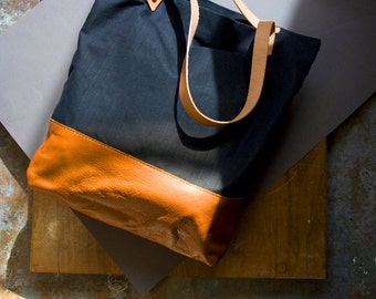 Leather and Canvas Tote, Waxed Canvas Tote, Leather Shopper, Canvas Market Tote, Black Waxed Canvas Bag with Tan Leather Cowskin: THE DOER