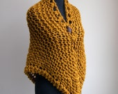 Hand Knit Shawl Stylish Comfort Prayer Meditation, Mustard Yellow Ochre, Triangle, Soft Acrylic Wool Blend, Ready to Ship FREE SHIPPING
