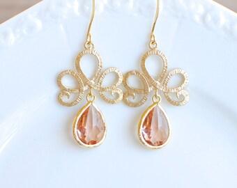Gold Looped Filigree with Blush Jewel. Dangle Earrings. Bridesmaid Earrings.
