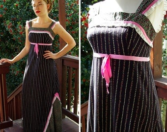 SWEET Things 1960's 70's Vintage Black Floral MAXI Dress with White Lace and Pink Ribbon // by Carol & Mary Hawaii // size Small