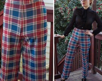 DEXTER 1960's 70's Vintage Teal Blue + Burgundy Plaid Polyester Pants with High Waist // by SEARS // size Small