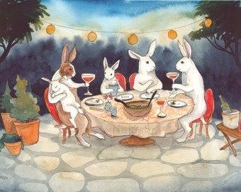 RESERVED for LS - Original Art - Garden Party - Watercolor Rabbit Painting