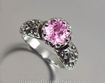 The ENCHANTED PRINCESS 14k gold engagement ring with created pink sapphire