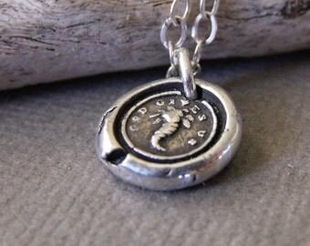Silver Cornucopia Necklace, Wax Seal  Pendant, Good Luck Charm, Victorian Pendant, Spiritual Jewellery