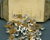 Moon Crescent Shaped Rhinestones Lot of (40) Vintage Mirrored Glass Teeny Foil Flat Back  5 mm jc mss MORE AVAILABLE