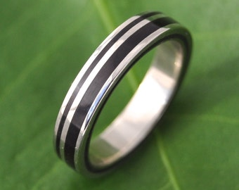 Rayo de Luz Coyol Wood Ring - wood wedding band with recycled sterling silver, wood wedding ring, unique wedding band