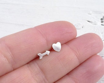 Mismatch Stud Earrings Mismatched Studs Arrow and Heart Post Earings Tiny Sterling Silver Earring Little Posts in Hearts and Arrows
