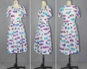 1950s dress / novelty / cotton / CONVERSATION swing dress