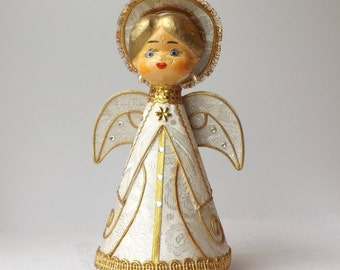 Christmas Angel Music Box, Vintage Revolving Paper Mache Figurine, Plays Silent Night, Mid Century Christmas Decor, Made in Japan