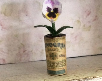 Dolls House Miniature Pansy in Vintage Tin Can