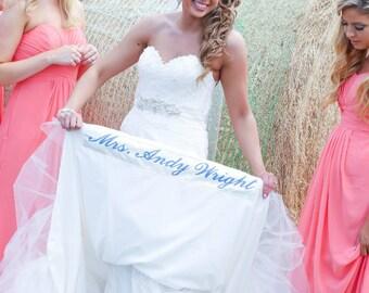 Wedding gown long hem dress label