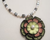 Flowering V, Sterling Silver, Pearls, Leather, Hematite Necklace