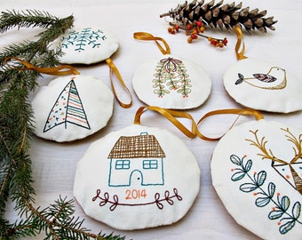 holiday ornament set - pdf embroidery pattern, set of 6 ornaments, DIY holiday, handmade holiday, christmas gifts, teacher gift, cozyblue