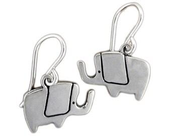 Little Elephant Earrings - Sterling Silver Pachyderm Earrings