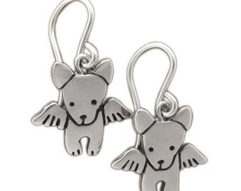Little Angel Dog Earrings - Sterling Silver Dog Earrings