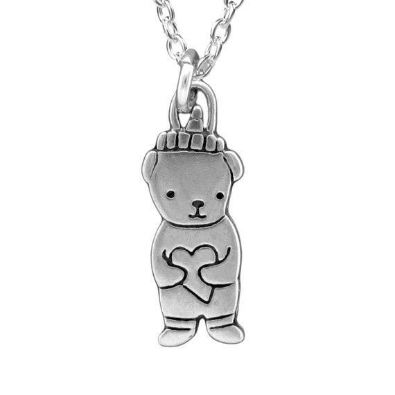 Honey Bear Necklace - Sterling Silver Bear Pendant