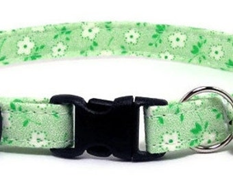Cute Cat Collar - Tiny White Flowers on Green - Breakaway Safety Cute Fancy Cat Kitten Collar