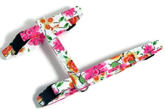 Cat Harness - Retro Floral Splash - Cute, Soft and Fancy for Cats and Kittens