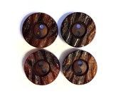 Vintage Button Lot - 4 faux bark carved buttons, large buttons, matching buttons, vintage button destash lot, vintage sewing supplies