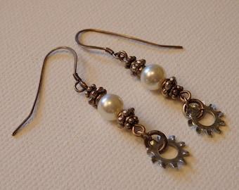 Sterling Silver Earrings - Glass Pearl & Silver - Steampunk Style