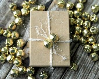 50 . Gold Jingle Bells . Christmas Bells . Holiday Decor . Christmas Gift Wrap . 1/2 inch 12mm 13mm