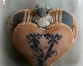 A Handcrafted Valentines Day Cross Stitched Pin Cushion with Wool Felt Mouse